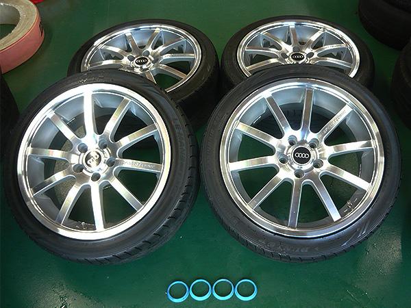 SPORT TECHNIC MONO10 18インチアルミホイール 8J+42 +DUNLOP LM704 235/40R18 4本セット 66.5-57.1ハブリング付 アウディ VW