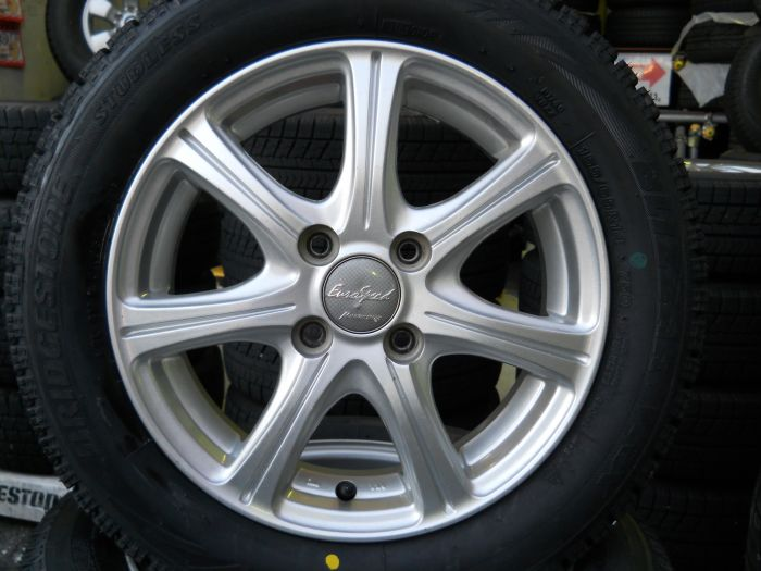 新品スタッドレスタイヤ ブリヂストン VRX 155/65R14 中古ホイールセット