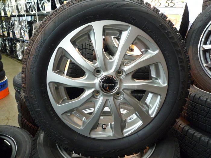 BALMINUM 14インチアルミホイール + ブリヂストン ブリザックVRX 155/65R14 2017年製 スタッドレス 4本セット