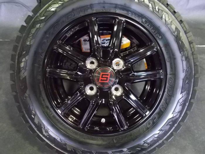 未使用品 軽トラ12インチ オープンカントリー 車検対応 145/80R12 80/78N タイヤホイール 人気4本セット